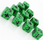 Green & Black Battle D6 German Dice Set